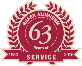 Emblem indicating Roark Aluminum has 63 years of service