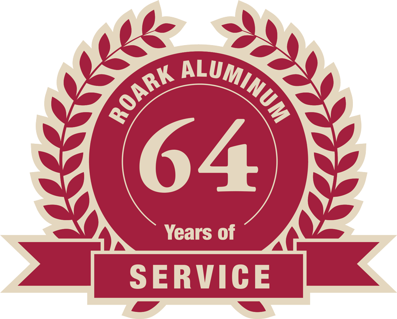 Emblem indicating Roark Aluminum has 64 years of service